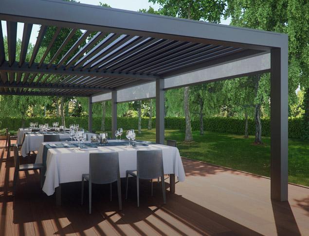 Strutture in alluminio pergola bioclimatica opera for Pergola bioclimatica pratic