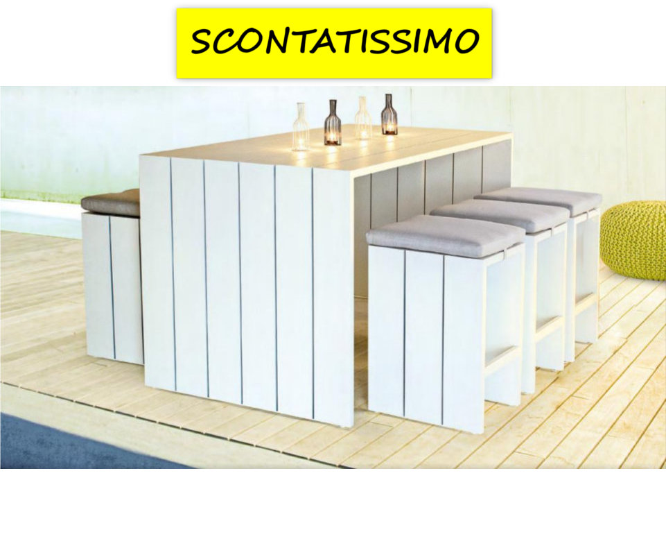 Arredo giardino atlantic tavolo bar 6 sgabelli for Tavolo bar con sgabelli
